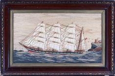 Sailor's Woolwork | British Sailor's Woolwork of Four-masted Schooner | 1865 | Earle D. Vandekar of Knightsbridge Inc. Royal Marines, Sailors, Folk Art, Exotic, Ships, British, Creative, Pictures, Painting