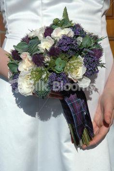 Scottish Wedding Decorations   stunning scottish bridal bouquet with roses thistles u0026amp foliage ...
