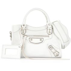 Balenciaga Metallic Edge City Mini Bag (€1.410) ❤ liked on Polyvore featuring bags, handbags, white, white studded purse, studded handbags, white leather handbags, leather handbags and genuine leather purse