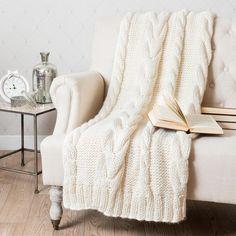 Plaid tricot en acrylique blanc cassé 130 x 170 cm OSLO