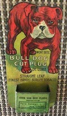 RARE Original Bull Dog Tobacco Tin Match Safe
