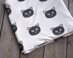 Black Cats Organic Cotton Knit Fabric  1 yard  by SewnNatural, $38.00
