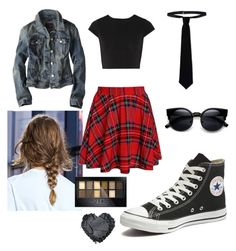 """""""Avril Style"""" by ce-zara on Polyvore featuring Alice + Olivia, American Eagle Outfitters, Converse, RED Valentino and Maybelline"""