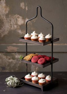 Display cupcakes and other sweet treats with our Hadley Three Tiered Stand . This  metal stand features three square tiers with plenty of ...