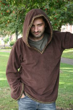 See how easily medieval clothing could slip back into the modern day? Hoodie for Men - SCA clothing- Brown hoodie- Fathers day - Elven hood- Medieval hoodie -Psy clothing- pointy hood. $70.00, via Etsy.