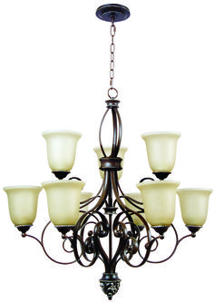 Mia 9 Light Chandelier in Aged Bronze/Vintage Madera