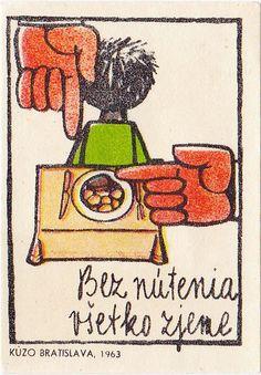 "matchbox cover - Czechoslovakia 1963 -  ""We eat everything without force"" bez_nutenia_vsetko_zjeme.jpg"