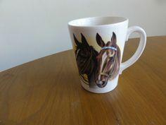 coffee mug cup Cream two horses heads Vintage Made England