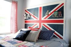 DIY pegboard headboard: great idea for dorm rooms and kids rooms! Paint USA states and capitals for grade school kids and college logo for dorms?