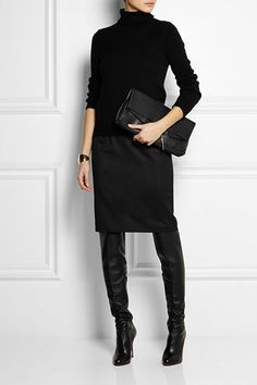 The best way to style in the knee boots, over the knee boots outfit inspirations, plummet design and style, cold style. over the knee boot outfit Looks Chic, Looks Style, Style Me, Black Style, Classy Style, Trendy Style, Mode Outfits, Casual Outfits, Fashion Outfits