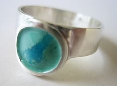 Sterling Silver, Green, Blue, Enamel