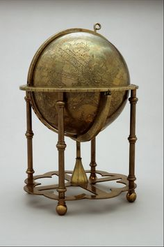 Globe: Celestial, Eastern Identification number: M-14 Object title: Globe: Celestial. Date: 1600 - 1700 Date Notes: c. 1650 Place of production: [Lahore], [Pakistan] Material(s): brass, silver Brass Islamic globe with no visible seam. Full set of constellation figures with about 1018 stars indicated by inlaid silver points. On four-legged pedestal. History Of Astronomy, Map Compass, Vintage Globe, Lahore Pakistan, Map Globe, World Globes, Old Maps, Submarines, Instruments