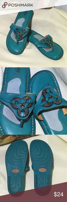 Born Turquoise Thong Embellished Sandal Dark Turquoise sandals have wooded rings attached with leather strands. Gently used but still in good condition. Born Shoes Sandals
