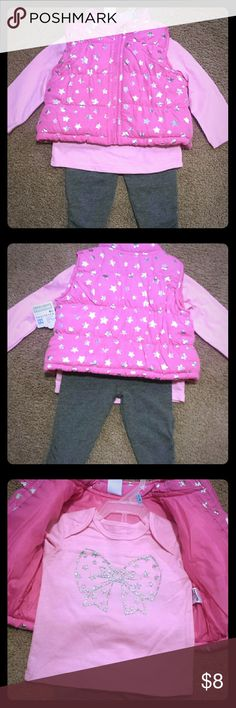 NWT!Adorable 3 piece set 3-6 months Pink shirt and vest with gray pants Shirts & Tops Sweatshirts & Hoodies