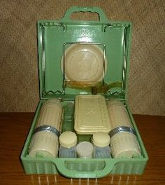 Vintage Green Bakelite Picnic Set with Table by HotrodTikiVintage on Etsy…