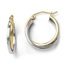 Leslies 10K Two-tone Polished Hinged Hoop Earrings TA38