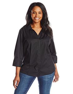 Riders by Lee Indigo Womens PlusSize Bella Easy Care 34 Sleeve Woven Shirt Black Soot 2X * Continue to the product at the image link.(This is an Amazon affiliate link and I receive a commission for the sales)
