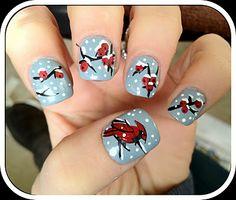 Cardinal Nail Art Click Thru for 10 more #Winter #Nail Art Ideas!