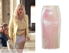 Chanel #5 (Abigail Breslin) wears this sequin pencil skirt in this week's episode of Scream Queens. It is the Essentiel Antwerp Sequin Embellished Pencil Skirt. Buy it HERE