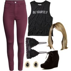 This outfit is simple but a little bit edgy but I think this looks better with black high tops