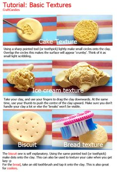 Polymer Clay : Basic Textures Tutorial  http://craftcandies.deviantart.com/art/Polymer-Clay-Basic-Textures-Tutorial-280209194