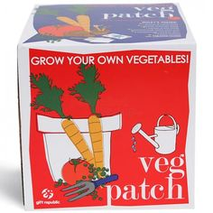 Veg Patch Sow and Grow Kit :: A great gardening starter pack. Great Kids Gifts from Personalised Gifts Shop. Real Plants, Growing Plants, Veg Patch, Carrot Seeds, Grow Kit, Tomato Seeds, Farm Gardens, Garden Supplies, Office Supplies