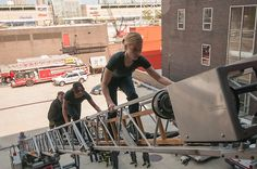 #ChicagoFire cast training with the Chicago Fire Department.
