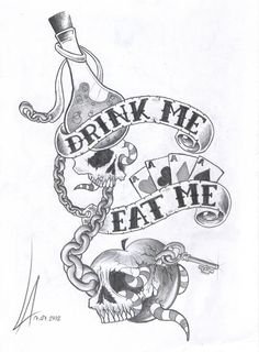 A dark version of drink/ eat me illustration of Alice in wonderland.