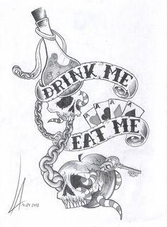 A dark version of drink/ eat me illustration of Alice in wonderland.