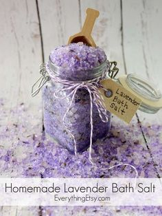 Homemade Lavender Bath Salt Tutorial - EverythingEtsy.com #diy