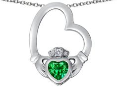 Star K Floating Heart Irish Claddagh Pendant Necklace with Heart-Shape Simulated Emerald Sterling Silver. Finejewelers is a US company based in New York. 925 Sterling Silver. Star K. Designs are exclusive and protected by Copyright Laws. 18 inch Chain in a matching metal will be included. Lifetime Warranty exclusively offered by Finejewelers.