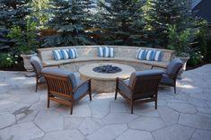 Mediterranean Courtyard | Buff Flagstone + Prairie Gold Capstone | Custom Fire Pit and Bench | Denver, Colorado | by Prolithic Designs