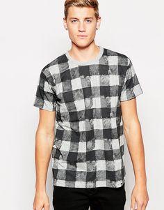 De fedeste Cheap Monday T-Shirt Standard Fuzzy Check Print - Grey melange Cheap Monday T-Shirts & Veste til Herrer i behageligt materiale