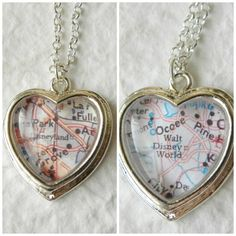 Disneyland or Walt Disney World Map Necklace- a locket with a map of an important place in a map inside- in love with this idea