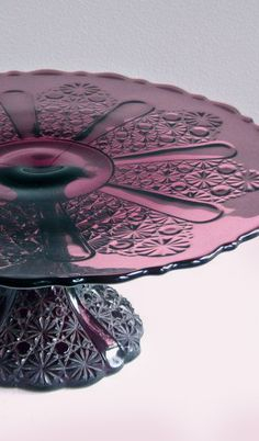 Vintage Amethyst Glass Cake Stand