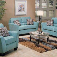 Tiffany blue microfiber couches!