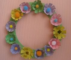 using egg cartons for a spring wreath