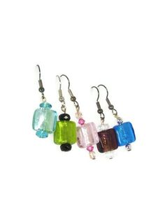 These #GlassBead earrings are small and extremely #Lightweight. They hang about 1 inch and come in #Five different color options. #taraelisabethdesigns #Handmade #HandmadeJewelry #Jewelry #FashionJewelry