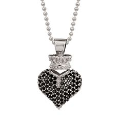 Queen Baby Sterling Silver & Black CZ Crowned Heart Necklace