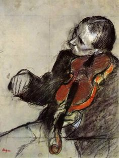 Edgar Degas, Violinist  This is the 1st pencil sketch of Degas I've seen... beautiful! :)