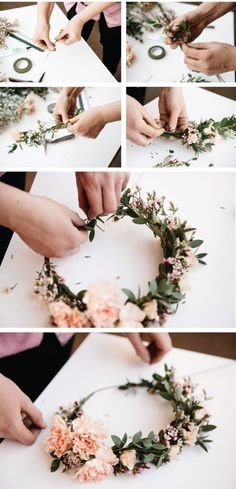 Haz tu propia corona de flores con este paso a paso de Living Fresh Flower Studio and School.