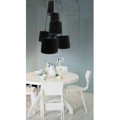 Lampa wisząca Solvig czarna nowoczesna 7 zwisów abażur nad stół schody
