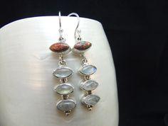 Red Fire Opal & Moonstone Sterling Silver Drop Earrings by ParadiseJewellery on Etsy