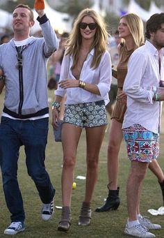 White shirt. Shorts. Sunglasses. Jewellery. Rosie Huntington-Whiteley @ Coachella.