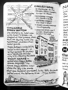 I know this is for a travel journal, but I love this kind of idea for notebooking in general. It would be cool to see the kids mix their own illustrations and writing together like this someday. Smash Book, Kunstjournal Inspiration, Art Journal Inspiration, Journal Ideas, Journal Layout, Art Journal Pages, Travel Journal Pages, Sketch Journal, Art Journaling