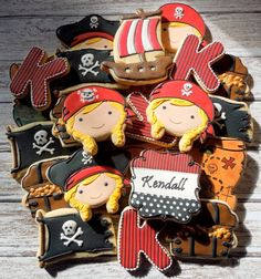 Pirate Girl Handmade and Decorated Sugar Cookies by FlourishCakes, $48.00. These are so nicely decorated.
