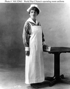 War Nurse Uniform    During World War I, in the operating room and in dressing work in the hospital wards, the War Nurse wore this white utility apron.
