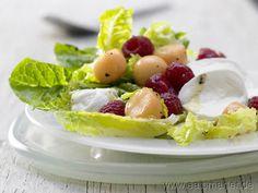 Mozzarella-Melonen-Salat - smarter - mit Himbeeren. Kalorien: 141 Kcal   Zeit: 20 min. #summer