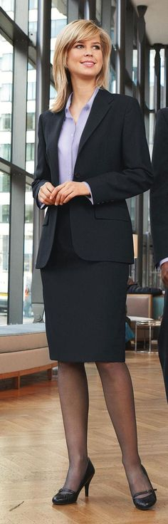 ✿⊱╮Great Business Suite ✿⊱╮ Black Skirt Suit Blue Blouse Sheer Black Pantyhose and Black High Heels