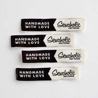 """""""Handmade With Love - Sewaholic"""" Woven Clothing Label - Pack of 4 Sew-In Labels"""